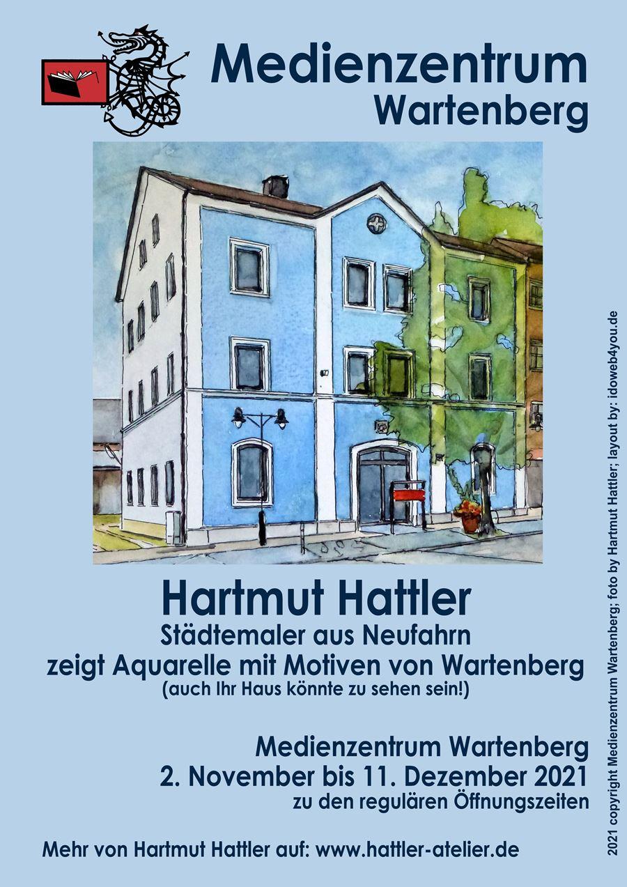 Hartmut Hattler zeigt Aquarelle mit Motiven aus Wartenberg, vom 2. November bis 11 Dezember 2021, im Medienzentrum Wartenberg